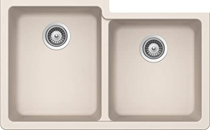 SCHOCK ALIN175YU026 ALIVE Series CRISTALITE 60/40 Undermount Double Bowl Kitchen Sink, Everest