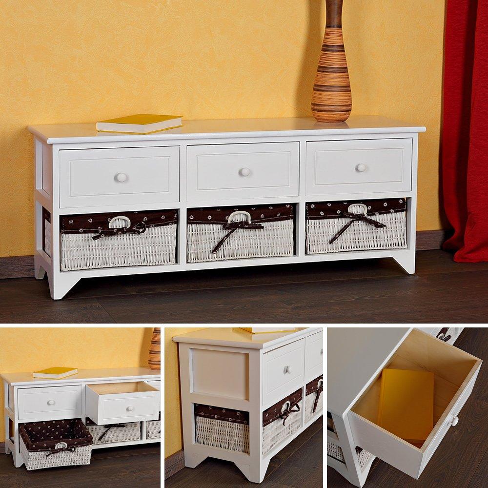 Landhausstil Kommode mit drei Schubladen Sideboard Anrichte Lowboard Weiß/Rosa jetzt bestellen