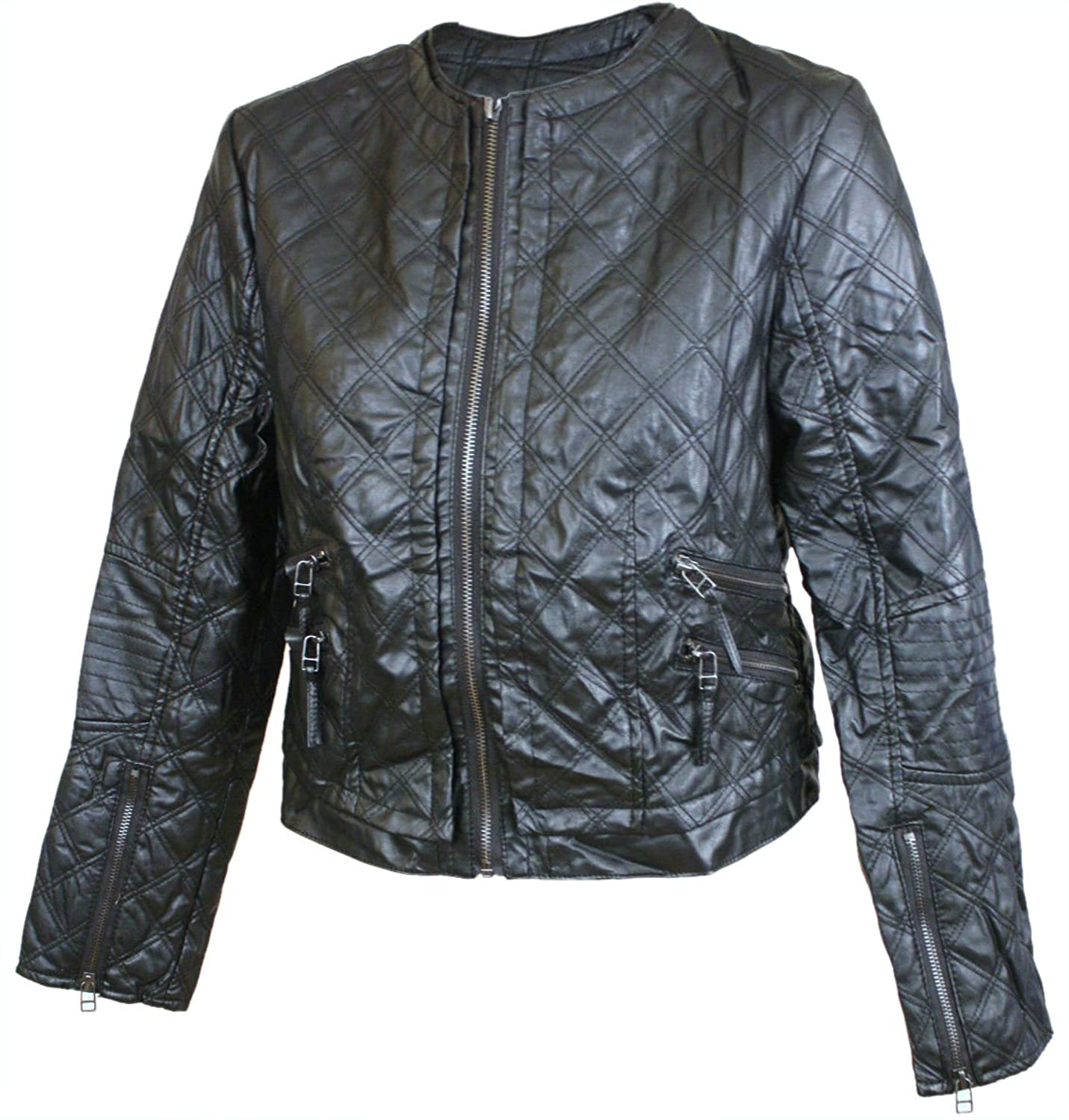 Esley Faux Leather City Adventure Quilted Motorcycle Jacket Large Black esley