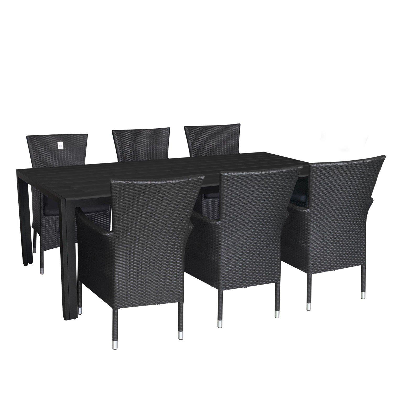 7tlg. Gartengarnitur Terrassenmöbel Set Aluminium Polywood Tisch 205x90cm Alu Poly-Rattan Sessel stapelbar Polyrattan Gartensessel inkl. Sitzkissen Stapelstuhl Sitzgarnitur Sitzgruppe kaufen