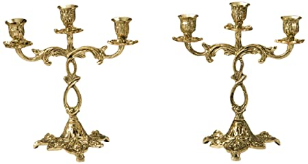 Virtus 4204 - Pareja de candelabros, motivo de lazo, fabricados en bronce, 24 x 22 cm