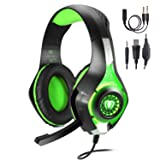 TURN RAISE 3.5mm Stereo Gaming Headset for PS4, PC, Xbox One Controller, Noise Cancelling Over Ear Headphones with Mic, LED Light, Bass Surround, Soft Memory Earmuffs for PC, Laptop,Tablet,Smartphones (Color: Green)