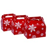 25-Pack Christmas Red Gable Candy Boxes,Small Goodie Treat Gift Boxes for Wedding and Birthday Party Favors Box 6.2 x 3.5 x 3.5 inch (Color: Christmas Red, Tamaño: Small)