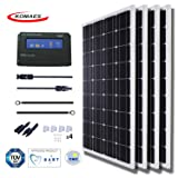 KOMAES 400 Watts 12Volts Monocrystalline Solar Panel With Energy-efficient Tech Kit Includes 20Amp PWM Solar Charge Controller, 20ft Tray Cable, 20ft MC4 Cable, Branch Connector, Mounting Z Brackets