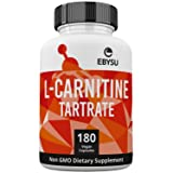 EBYSU L-Carnitine Tartrate - 180 Capsules 1000mg Max Strength Pure L Carnitine Supplement