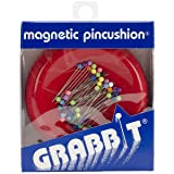 Grabbit Magnetic Sewing Pincushion with 50 Plastic Head Pins, Red