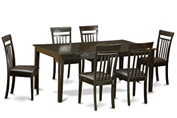 East West Furniture HECA7-CAP-LC 7-Piece Dining Table Set, Cappuccino Finish