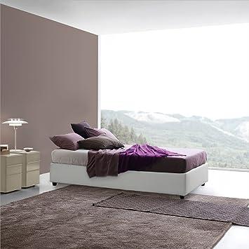 Sommier Sararreda - Queen Size Bett mit Aufbewahrung in Kunstleder Gepolstert - Weiße Farbe - Made in Italy