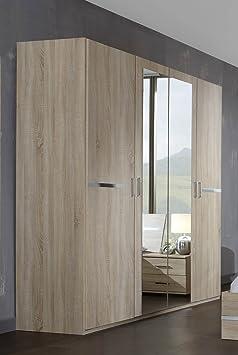 Kleiderschrank in Eiche sägerau-Nb., Aufleistungen in Chrom glänzend, 2 Spiegeltur, 2 Einlegeböden, 2 Kleiderstange, Maße: B/H/T ca. 180/210/58 cm