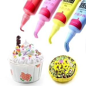 mofa 50g 12 PCS Simulation Cream Adhesive,Faux Simulation Fake Whipped Cream Glues Set,Crystal Cream Adhesive with 14 Nozzle (Simulation Cream Adhesive) (Color: Simulation Cream Adhesive)