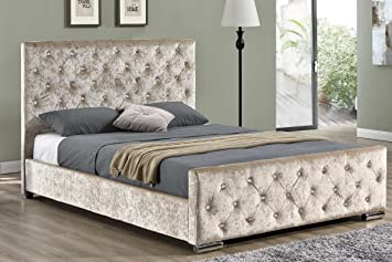 Buckingham Luxury Upholstered Bed Frame Champagne Gold or Silver Crushed Velvet or Grey Fabric Upholstered - Double or King Size By Sleep Design (Double, Gold)