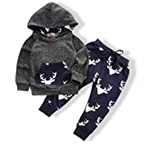 Toddler Infant Baby Boys Deer Long Sleeve Hoodie Tops Sweatsuit Pants Outfit Set(0-3 Months) (Color: A-grey, Tamaño: 0 - 3 Months)