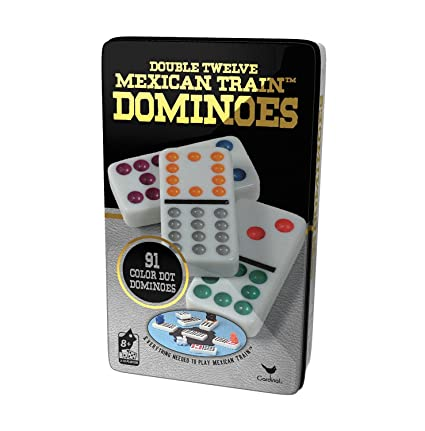 Double 12 Color Dot Dominoes in Collectors Tin (styles will vary) by Cardinal