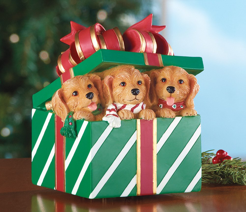 Musical Christmas Puppies In Gift Box Figurine