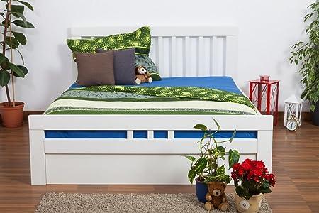 """Bett mit Stauraum """"Easy Sleep"""" K8 inkl. 4 Schubladen und 2 Abdeckblenden, 160 x 200 cm Buche Vollholz massiv weiß lackiert"""