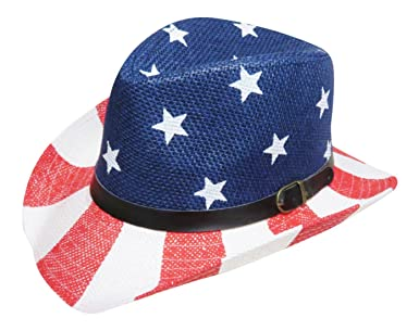77ffa490fd6 USA Stars and Stripes Red White and Blue Straw Cowboy Hat Western Cowgirl Red  White and Blue USA Flag Straw Cowboy Hat Dark Color Band Around Hat with  Small ...