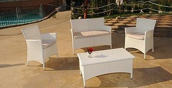 Set mobile giardino Lèna. Composto da 2 Poltrone, Divano, Tavolo con vetro temperato. Cuscini ecrù.