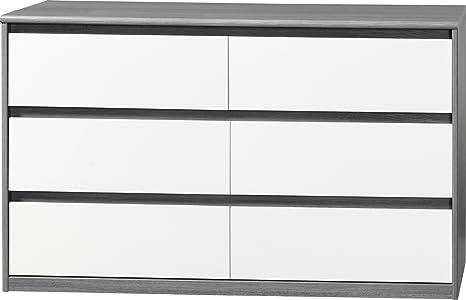 CS Schmalmöbel Commode sans poignée Soft Plus Smart Type 14 Bois Chêne Argent/Blanc 450 x 1400 x 840 cm