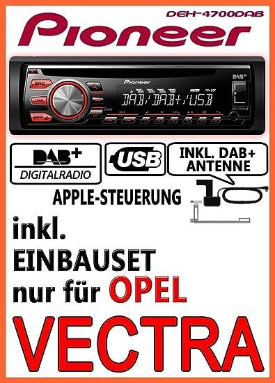 Opel Vectra A + B - Pioneer DEH-4700DAB - DAB CD USB Autoradio inkl. DAB Antenne - Einbauset