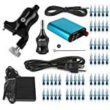 Hommii Professional Rotary Tattoo Machine Kit Gun Stroke Length 3.5mm,7-10V For Liner and Shader Machine + Power Supply and Foot Pedal + 50 pcs. Sterile Disposable Tattoo Needles 1,3,5,7,9 RL (Color: Black)