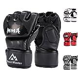 Brace Master MMA Gloves UFC Gloves Boxing Training Gloves Men Women Leather More Padding Fingerless Punching Bag Gloves The Kickboxing, Sparring, Muay Thai Heavy Bag, (Black Medium) (Color: Black, Tamaño: Medium)