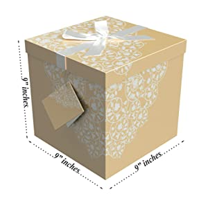 Gift Box 9x9x9 Cassandra Pop up in Seconds comes with Decorative Ribbon mounted on the lid A Gift Tag and Tissue Paper - No Glue or Tape Required (Color: Orange, Tamaño: 9x9)