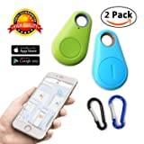 key finder smart tracker Bluetooth Locator pet car child wireless anti lost alarm sensor for wallet kids dog cat bag phone selfie device located shutter 2 pack seeker