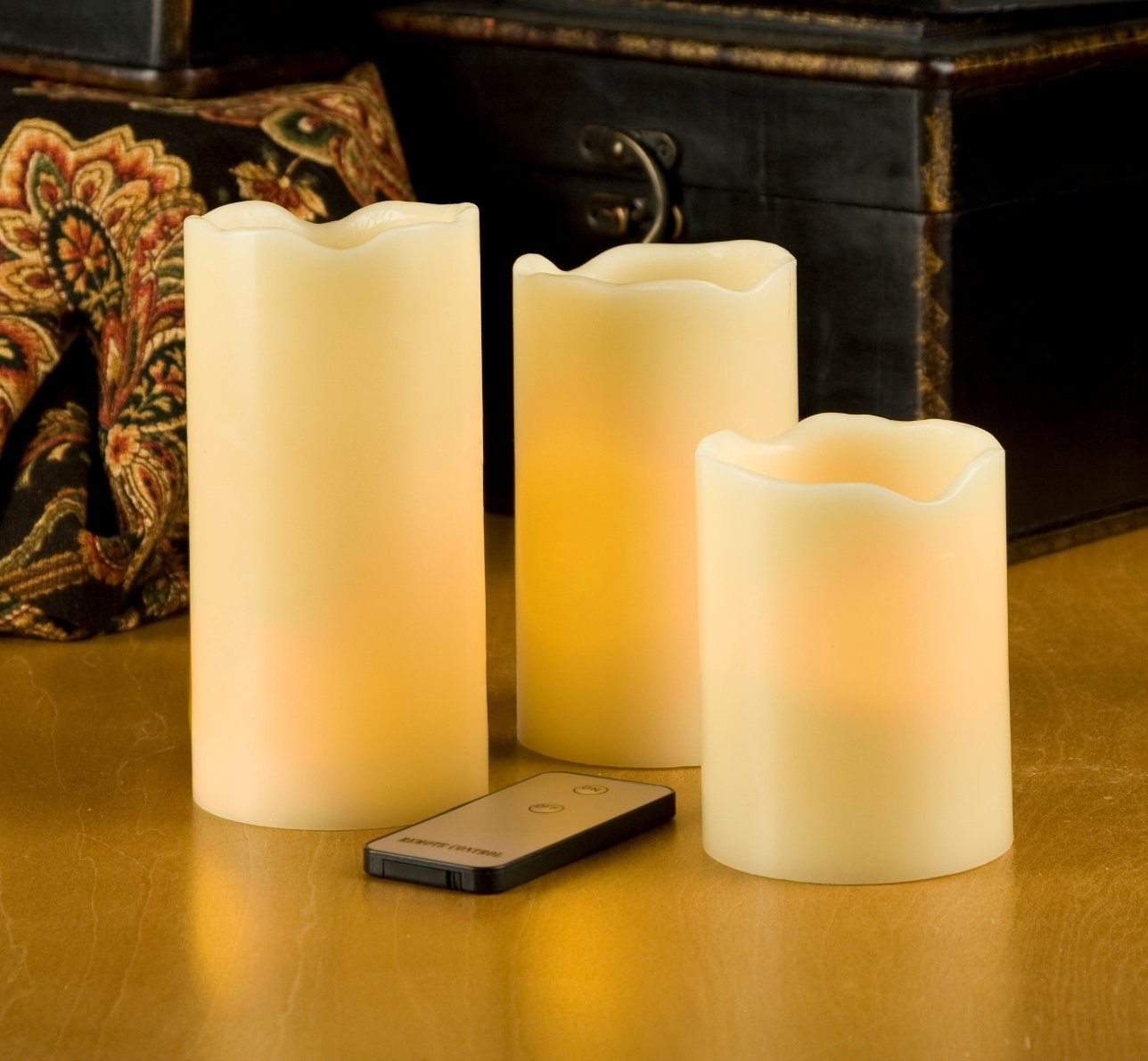 Everlasting Glow LED Ivory Pillar Candles with Remote Control - Set of 3 by The Gerson Company