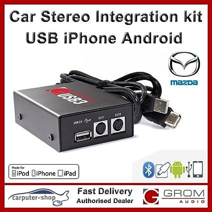 Grom Audio (USB3) USB kit d'intégration stéréo de voiture iPhone Android pour Mazda - soutient connecteur d'Apple foudre. Mazda 3 5 6 MX5 MPV RX-8 CX-7 BT
