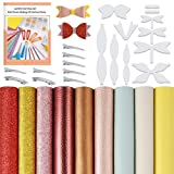 Caydo 9 Pieces Faux Leather Bow Making Kit Include Hair Bows Templates, Faux Leather Sheet, Instructions, Metal Hair Clips for DIY Bow Making Crafts (8.3 x 11.8 inch)