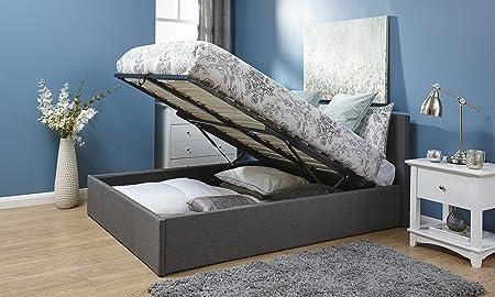 4FT 6Ende Lift Ottoman Silber Grau aus doppeltem Stoff Ende Lift Up Bett mit Stauraum