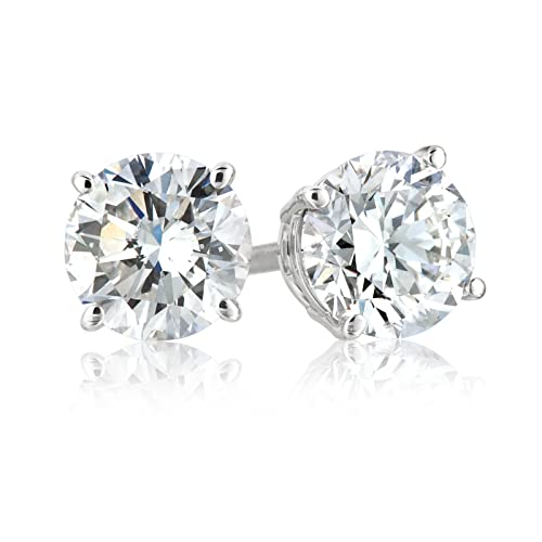 18K White Gold Round 1 Carat Diamond Stud Earrings