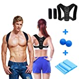 Posture Corrector Back Brace Support, INKERSCOOP Back Correction Belt Set Posture Corrector Adjustable Posture Brace Upper Back Support Posture Shoulder Brace Slouching Corrective for Men & Women