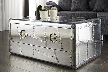 Design couchtisch alloy silber alu 100cm reisekoffer for Designer couchtisch alu