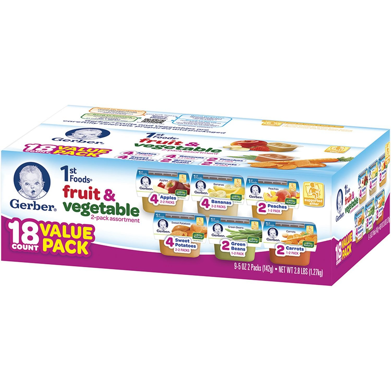 Gerber 1st Foods Assorted Fruits and Vegetables, 18 Value Pack