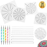 Whaline 18 Pieces Mandala Art Dotting Tools Including 4 Mandala Stencils, 8 x Acrylic Rods, Paint Tray and 5 Double Sided Dotting Tools