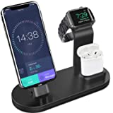 Yestan 3 in 1 Charging Stand Compatible for iWatch Series 4/3/2/1, AirPods and iPhone Xs/X Max/XR/X/8/8Plus/7/7 Plus /6S /6S Plus/9.7 inches iPad (Original Charger & Cables Required) -Black (Color: Black)