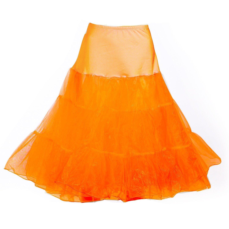 Dance Fairy Reifrock Unterrock Petticoat Knielang für Kleid Ballkleid Abendkleid Brautkleid dehnbare Bund, Orange, S-M