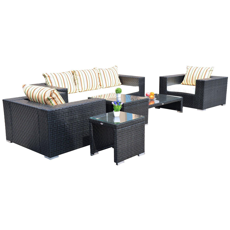 Outsunny Alu 15-tlg.Luxus Polyrattan Gartenmöbel-Set Lounge Garnitur Gartentischset mit vier Beistelltische günstig online kaufen