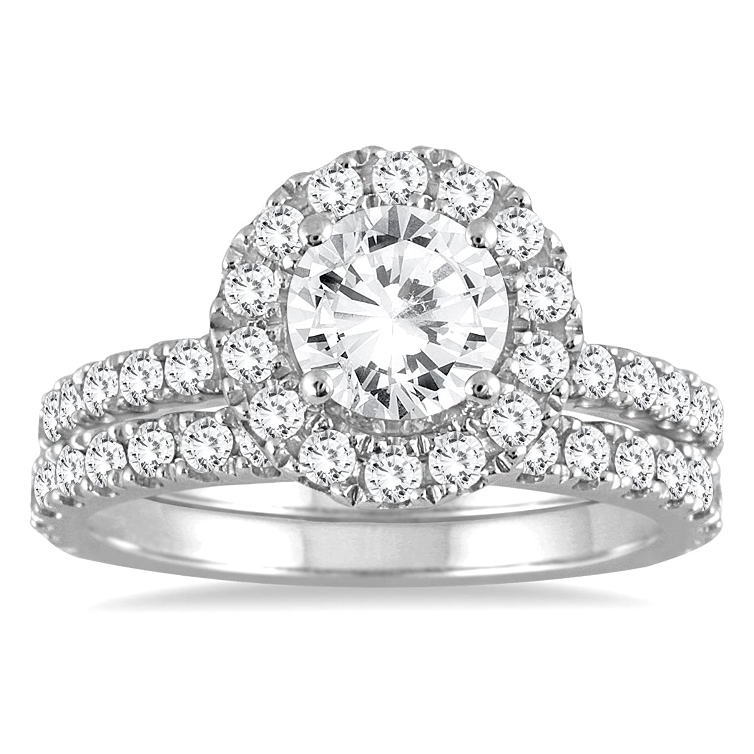 2 Carat Diamond Halo Bridal Set in 14K White Gold