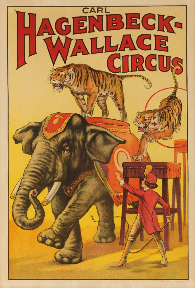 Hagenbeck - Wallace Circus (elephant and tigers) Vintage Poster USA c. 1933 (9x12 Collectible Art Print, Wall Decor Travel Poster) 0