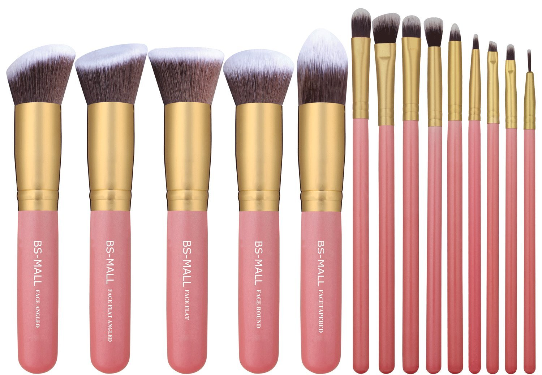 BS-MALL New 14 Pcs Premium Synthetic Kabuki Makeup Brush Set Cosmetics Foundation Blending Blush Eyeliner Face Powder Brush Makeup Brush Kit(golden Pink)
