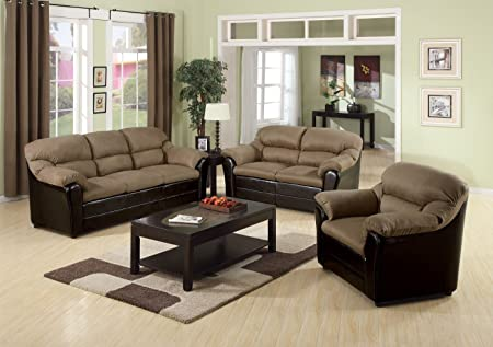 Acme 15140A Connell Sofa, Saddle Microfiber and Espresso Polyurethane Finish