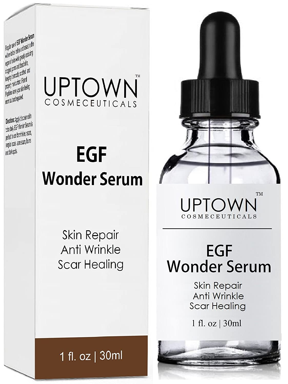 Anti Wrinkle & Acne Scar Removal EGF Wonder Serum From Uptown Cosmeceuticals, Best Skin Repair and Healing Peptide Helps Diminish the Appearance of Scars, Wrinkles, Burns, and Dark Spots Visibly, 30mL
