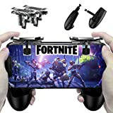 Fortnite PUBG Mobile Controller - Cinsey Game Controller, Cellphone Game Trigger, Ergonomic Design Handle Holder Handgrip Stand for 5.3-6.5inch Android IOS Phones for Battle Royale/Fortnite/PUBG (Color: transparent)