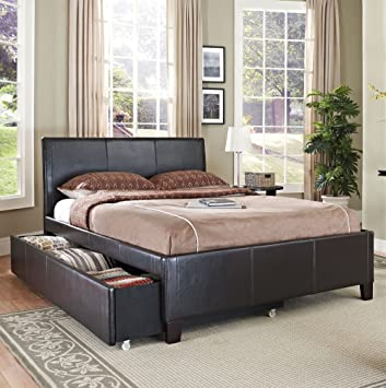 Standard Furniture New York Upholstered Trundle Bed in Brown Twin