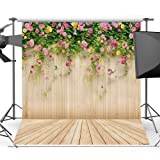 Mehofoto Wood Backdrops for Photography Pink Floral Photo Background for Photo Booth Studio Props Vinyl Wooden Floor Backdrop 5x7 (Color: Vinyl)
