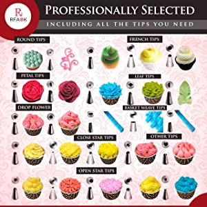 74 pcs Cake Decorating Supplies Kit -48 Numbered piping tips and bags with pattern chart & EBook, Icing Nozzles Coupler, Flower Lifter & Nail with Storage Case, for Cupcake Cookie Decoration (Tamaño: 74 Pcs Icing tips & Bags)