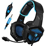 SADES SA807 New Updated 3.5mm Multi-Platform Stereo Sound PC Gaming Headset, Over-ear Gaming Headphones with Mic for New Xbox one PS4 PC Laptop Mac iPad iPod(Black&Blue) (Color: Black)