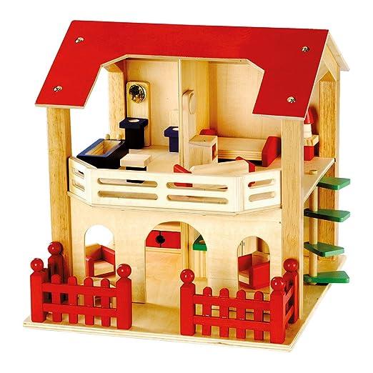 Bino - 83550 - Maisondepoupée - bois - avec clôture - rouge